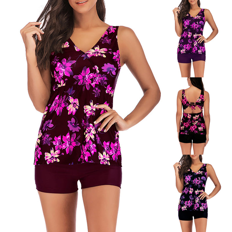 Womens Floral Print Conservative Swimwear Two Piece Slim Tankini Swimsuit