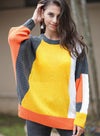 Women Round Neck Contrast Color Knit Loose Sweater