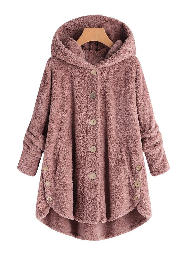 Ins Hot Fashion Irregular Button Velvet Hooded Coat