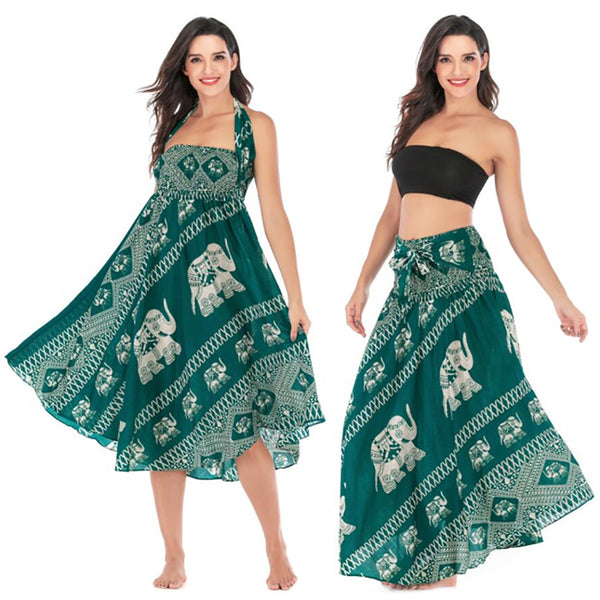 Women Hippie Bohemian Holiday Skirt Elephant Print Gypsy Two-wear Beach Dress