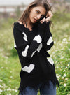 Women V-neck Heart Print Knit Loose Sweater