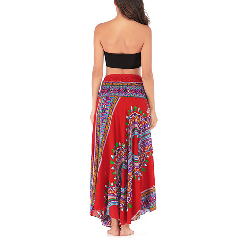 Women Hippie Bohemian Holiday Skirt Print Gypsy Two-wear Beach Dress