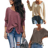 Ins Stylish V-neck Solid Color Loose Knit Sweater