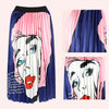 Ins Hot Graffiti Print Cartton Pleated A Line Maxi Skirt