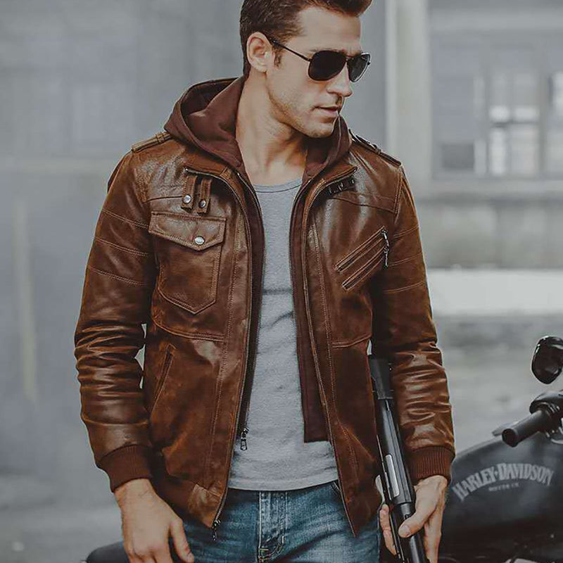 Men's Brown Leather Motorcycle Jacket with Removable Hood