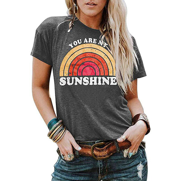Women Summer Short Sleeve Tops Tee You Are My Sunshine Rainbow Printed T-Shirt