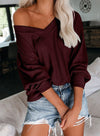 Women V-neck Off Shoulder Lantern Sleeve T-shirt