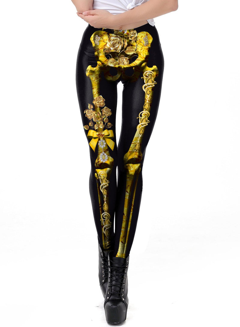 Women's Halloween Pumpkin Skull Printed Elastic Leggings