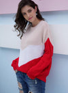 Women Contrast Color Knit Casual Loose Sweater