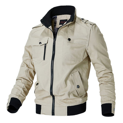 Men's Autumn Winter Cotton Windbreaker Military Cargo Pilot Flight Bomber Jacket