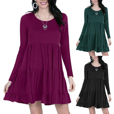 Women Round Neck Pleated Lotus Hem Long Sleeve Dress