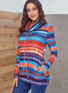 Women Colorful Stripes Long Sleeve Hoodie Sweatshirt