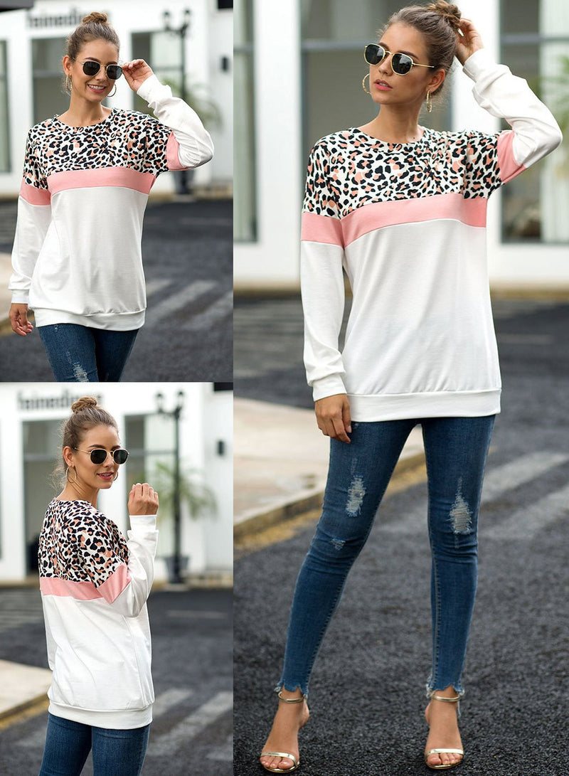 Women Round Neck Leopard Stitching Long Sleeve T-shirt