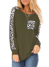Women Leopard Pockets Long Sleeve T-shirt