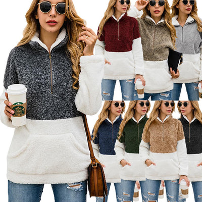 Women Contrast Color Zipper Pocket Velvet Sweatshirt