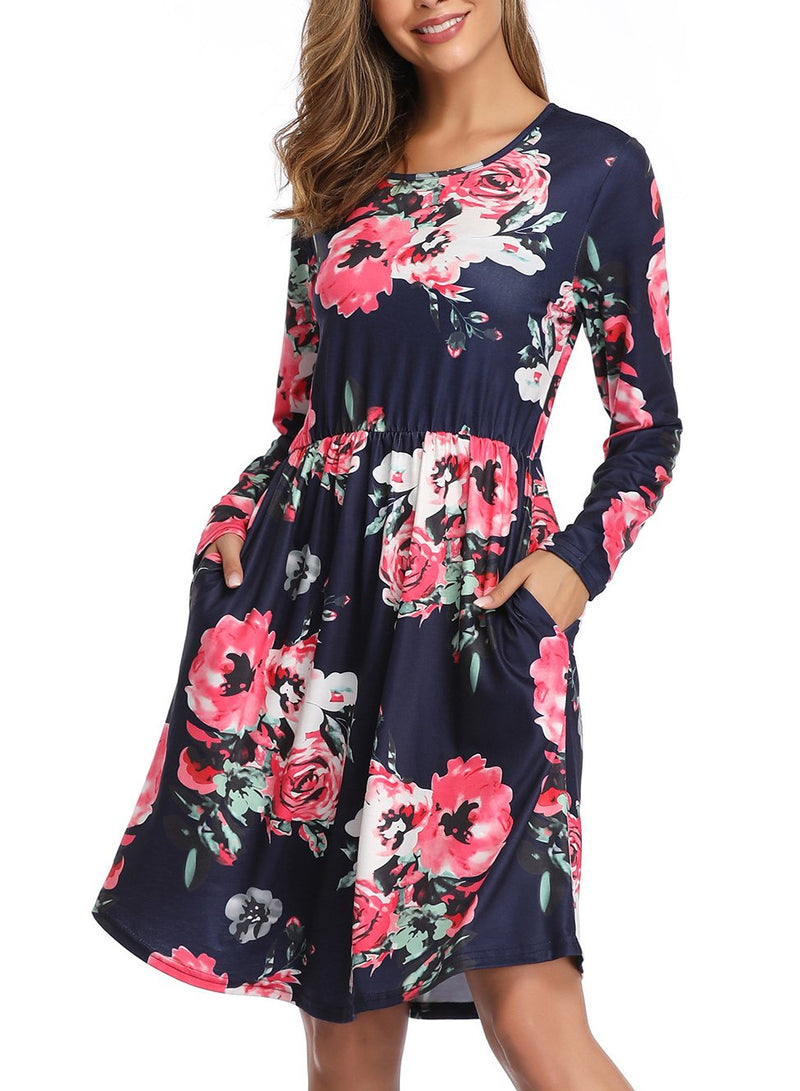 Women Round Neck Print Pockets Long Sleeve Dress