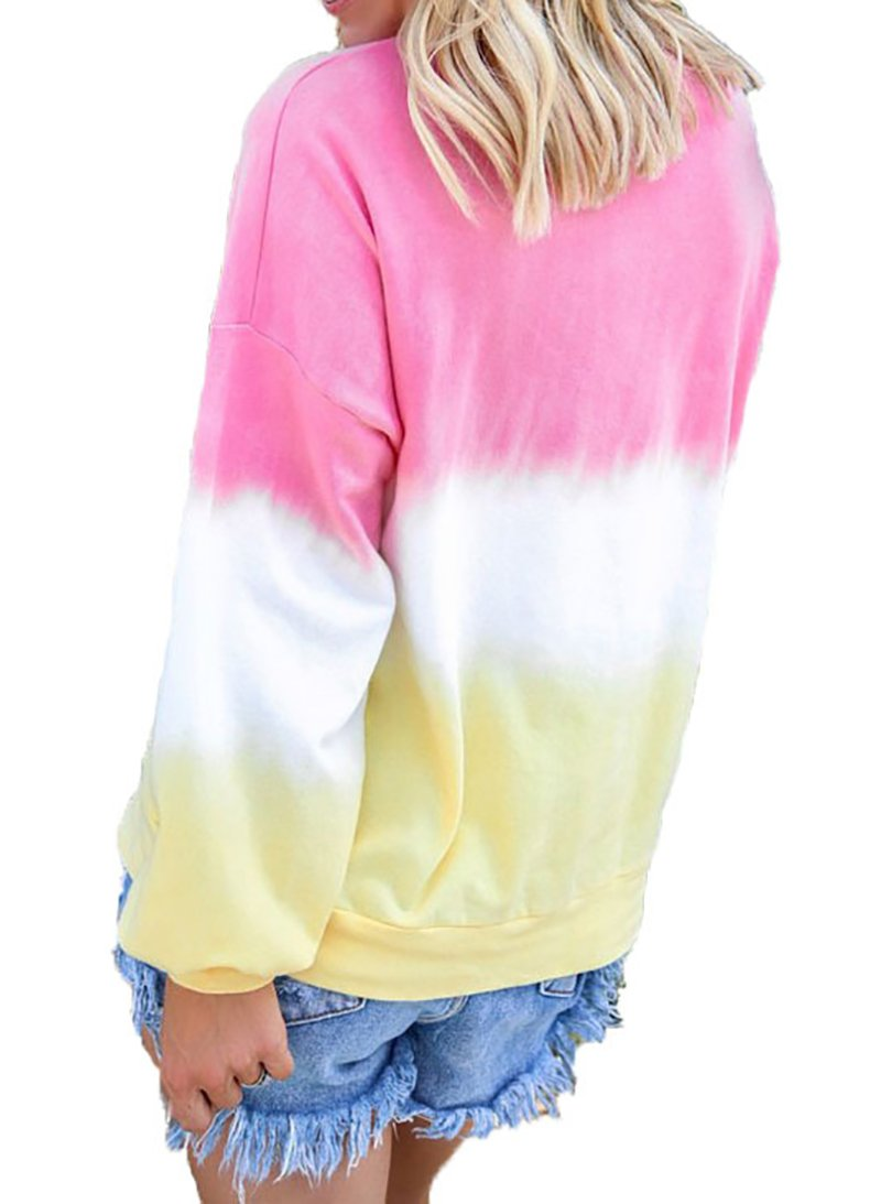 Women Rainbow Gradient Long Sleeve Casual Sweatshirt