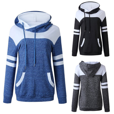 Women Fashion Stitching Pockets Long Sleeve Hooded Sweatshirt
