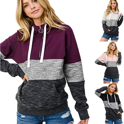 Women Contrast Color Zip Long Sleeve Hoodie Sweatshirt