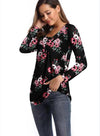 Women V-Neck Print Button Long Sleeve Loose T-shirt