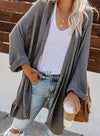 Women Large Size Medium Long Knit Loose Cardigan