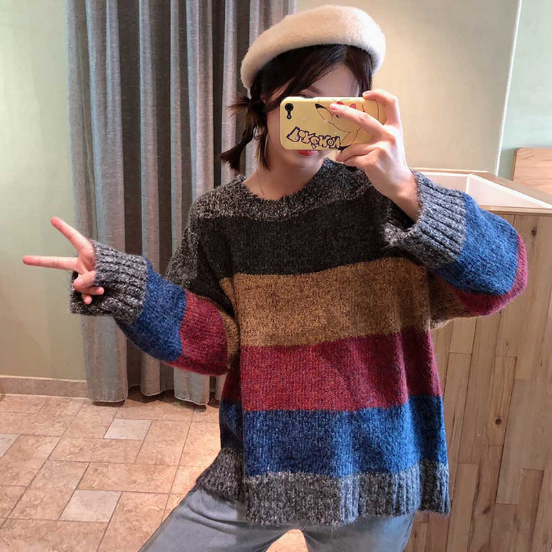 Women Round Neck Stripes Contrast Color Leisure Knit Sweater