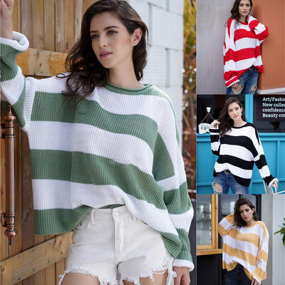 Women Stripes Contrast Color Knit Loose Sweater