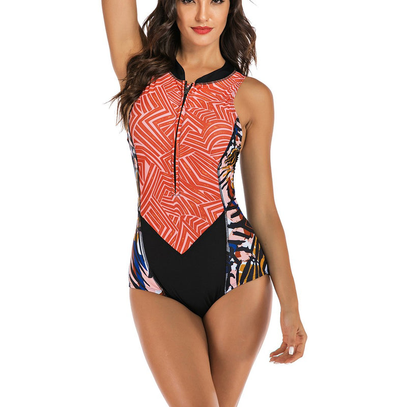 Women Sleeveless Contrast Color Zip Front Rash Guard Diving One Piece Swimsuit Athletic Swimwear