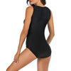 Women Sleeveless Black Zip Front Rash Guard Diving One Piece Swimsuit Athletic Swimwear