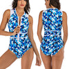 Women Sleeveless Geometric Printing Zip Front Rash Guard Diving One Piece Swimsuit Athletic Swimwear