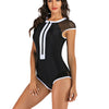 Women Sleeveless Deco Zip Front Rash Guard Diving One Piece Swimsuit Athletic Swimwear