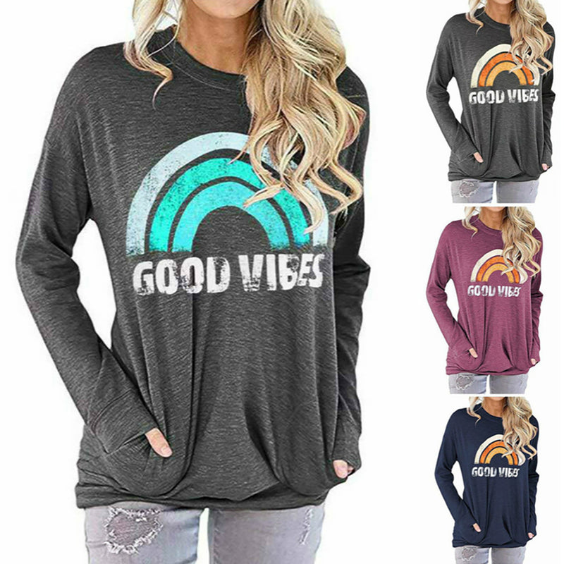 Women Good Vibes Printed Sweatshirt Long Sleeve T-Shirt with Pockets