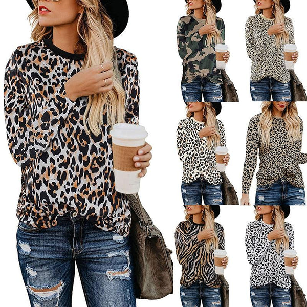 Women Leopard Print Long Sleeve Loose T-shirt