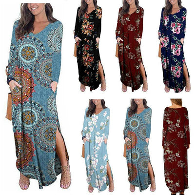 Women V-Neck Print Pockets Long Sleeve Slit Dress