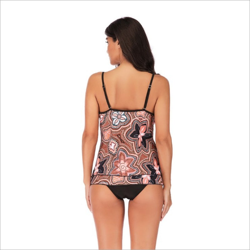 Women V-neck Pattern Print Tankini Two Piece Swimsuit