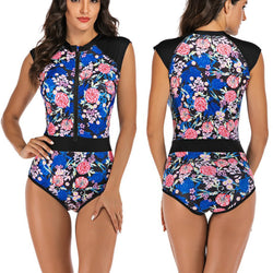 Women Sleeveless Flowers Printing Zip Front Rash Guard Diving One Piece Swimsuit Athletic Swimwear