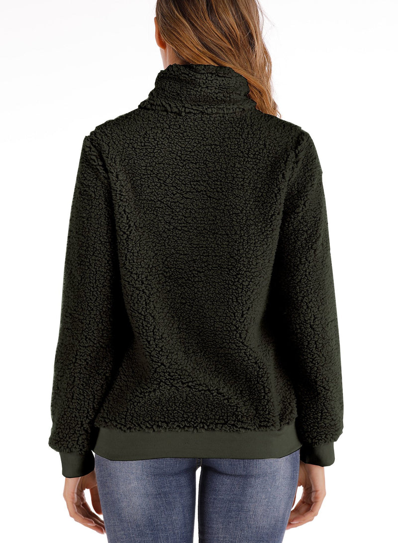 Women High Collar Pockets Long Sleeve Velvet Hoodie Sweatshirt