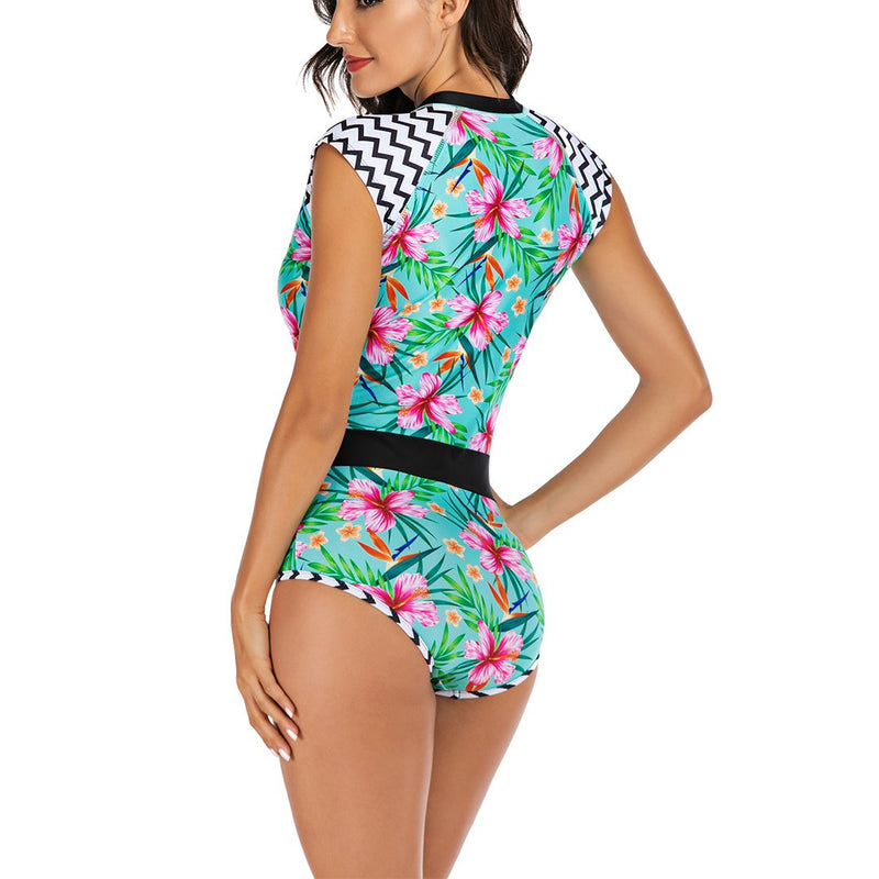 Women Sleeveless Flowers Zip Front Rash Guard Diving One Piece Swimsuit Athletic Swimwear