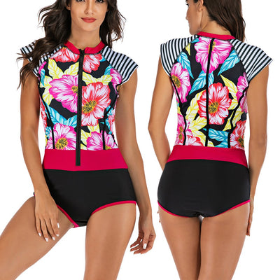 Women Sleeveless Floral Zip Front Rash Guard Diving One Piece Swimsuit Athletic Swimwear