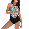 Women Sleeveless Floral Printing Zip Front Rash Guard Diving One Piece Swimsuit Athletic Swimwear
