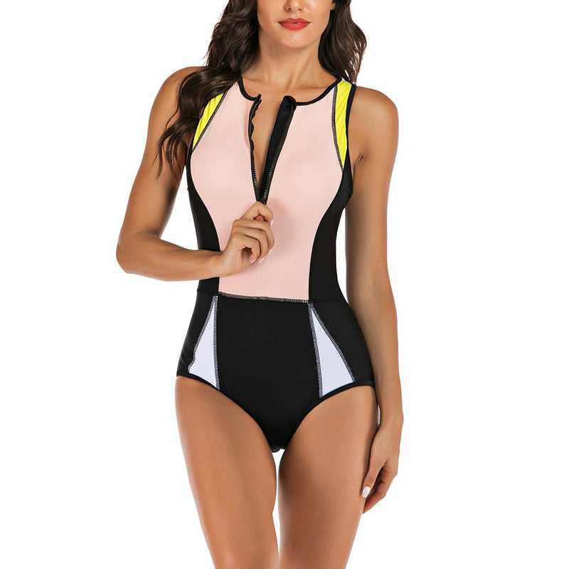 Women Sleeveless Zip Front Rash Guard Diving One Piece Swimsuit Athletic Swimwear