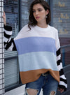 Women Round Neck Contrast Color Knit Casual Sweater