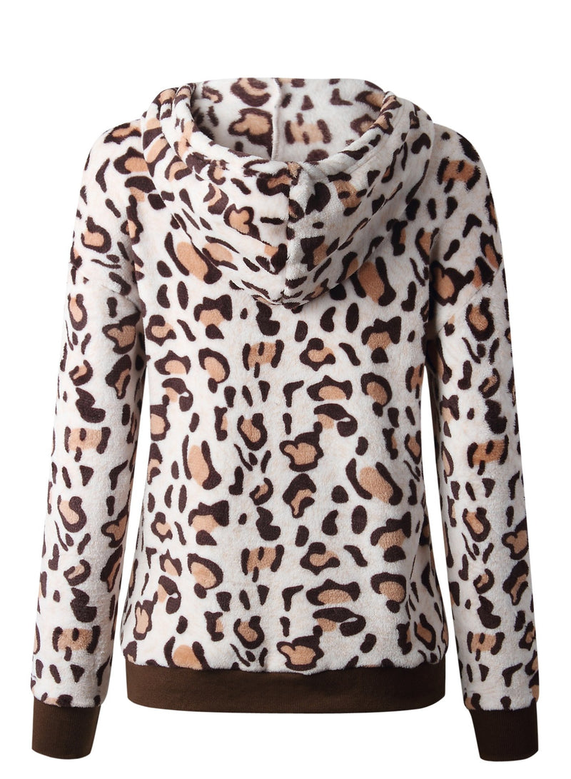 Women Leopard Drawstring Hooded Velvet Sweatshirt