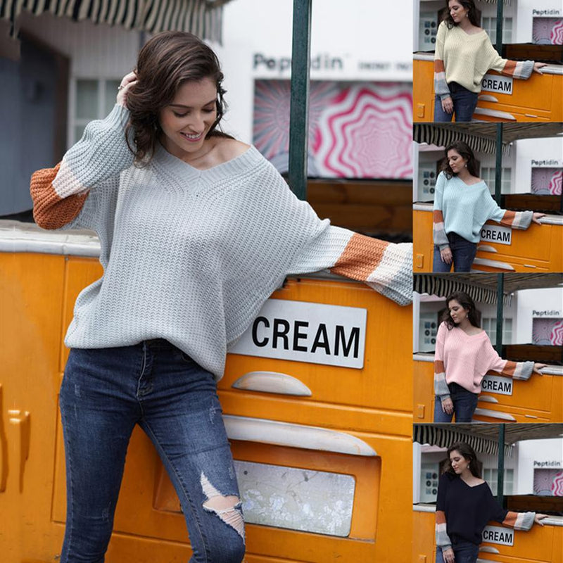 Women V-neck Contrast Color Knit Loose Sweater