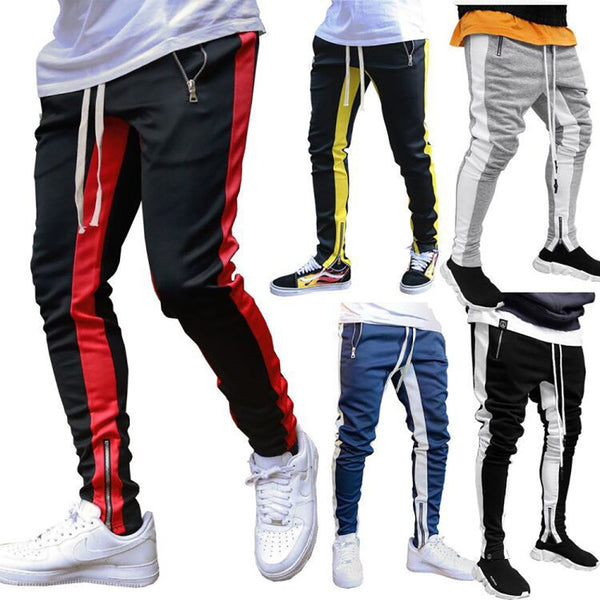 Men's Joggers Zipper Casual Fitness Sportswear Skinny Sweatpants Gyms Jogger Harem Track Pants
