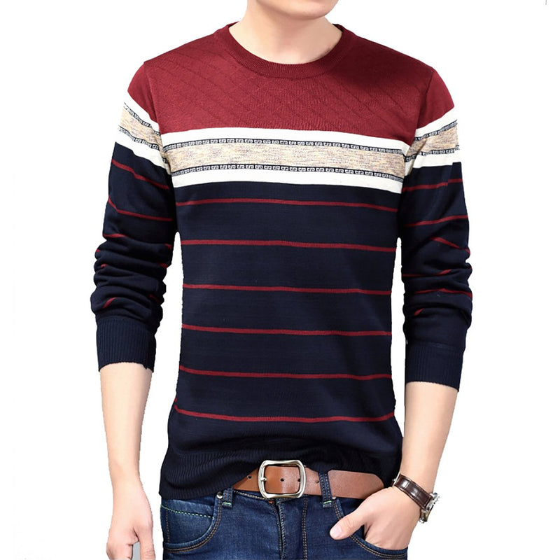 Men Fashion Casual Fitness Bodybuilding Striped Long Sleeve T-shirt