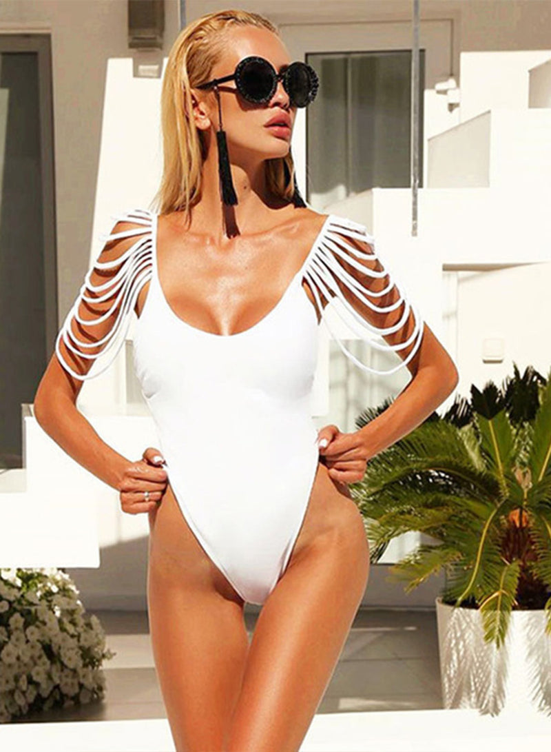 Strap Tassels Backless One Piece Swimsuit
