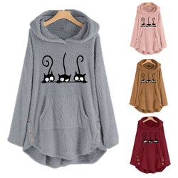 Ins Hot Cats Embroidery Fleece Hooded Sweatshirt
