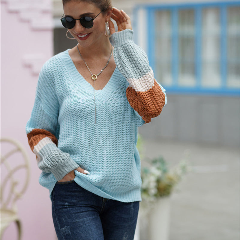 Ins Stylish V Neck Contrast Color Knit Sweater