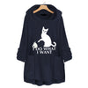 Ins Hot Cat Print Fleece Hooded Sweatshirt